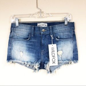 Wildfox Jean Cutoff Shorts Distressed Destroyed